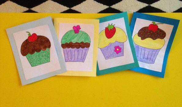Geburtstagskarten Vorlagen Cupcakes