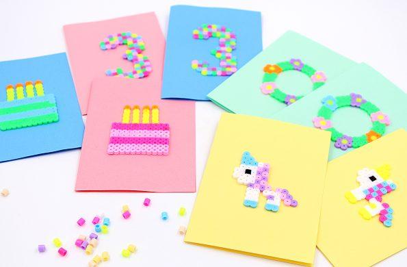Geburtstag und Einladungskarten Bügelperlen selber machen