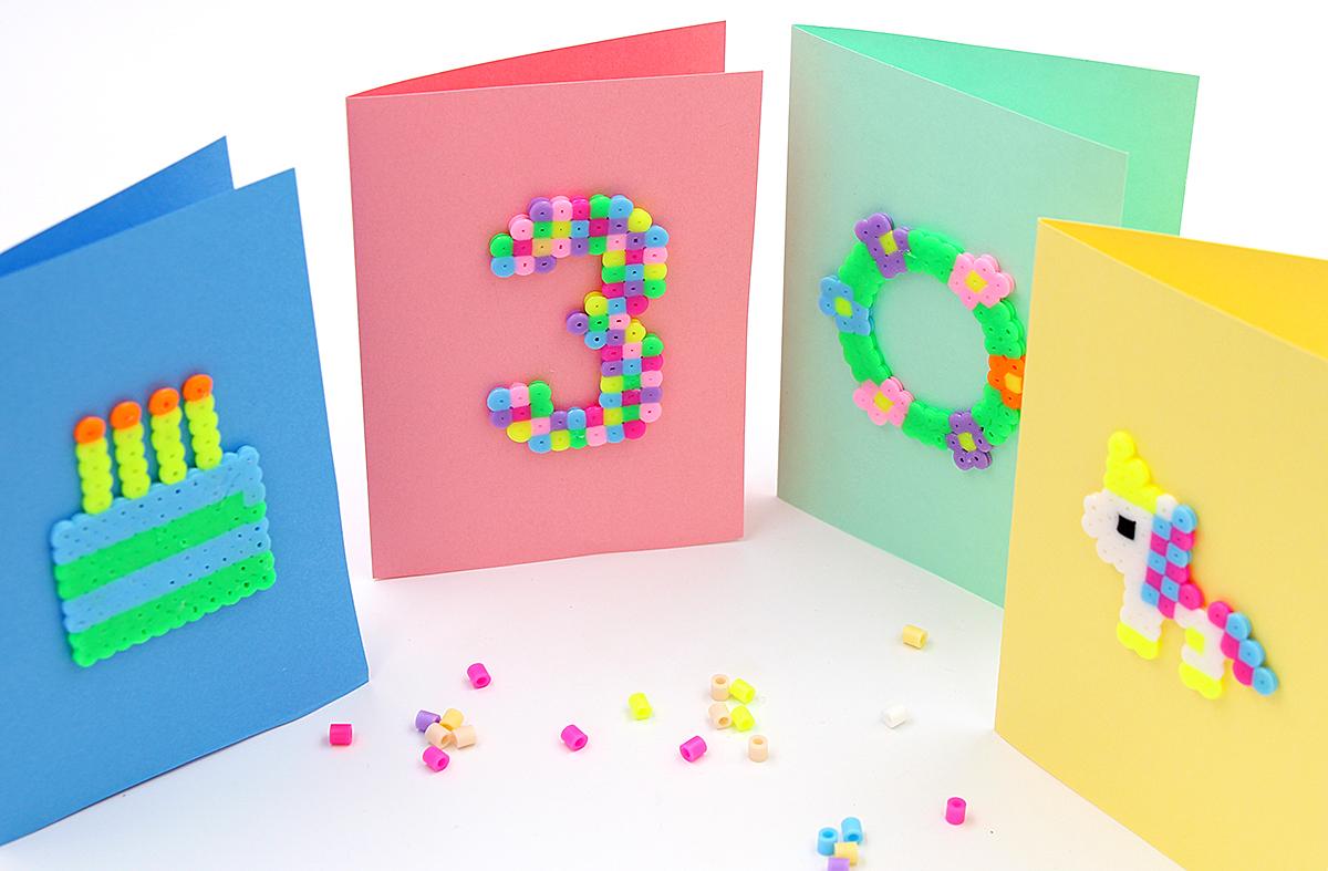 Geburtstagskarten Vorlagen mit Bügelperlen