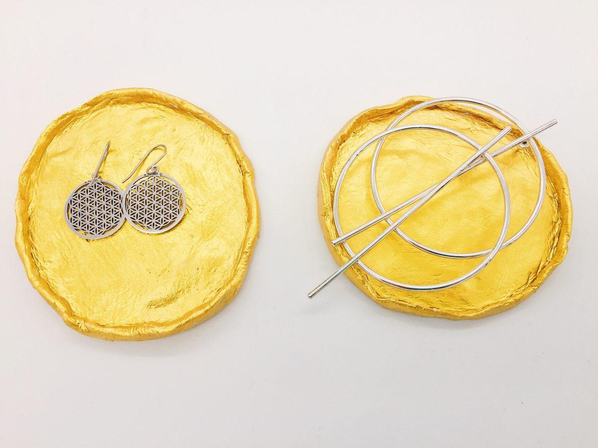 Goldene Schmuckschalen aus Fimo Air Modelliermasse selber machen