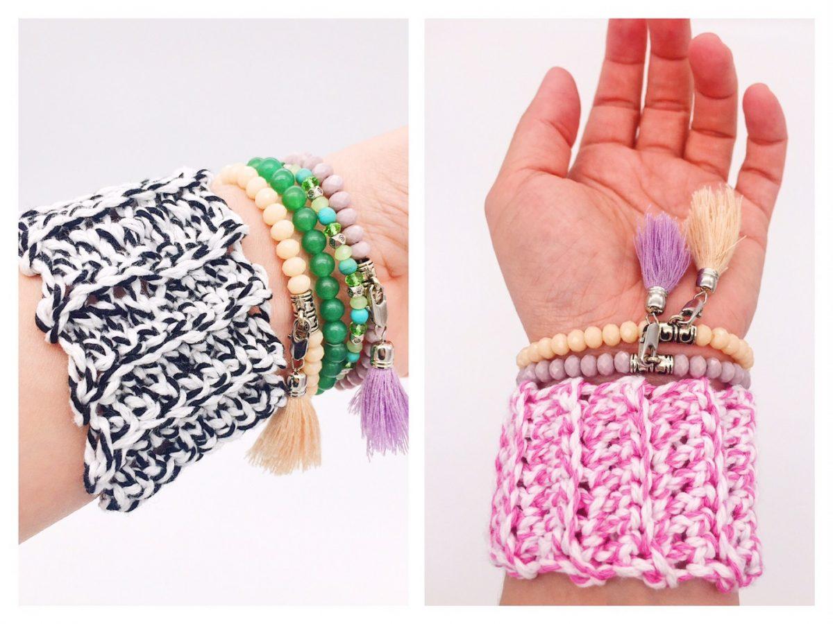 Armband häkeln einfache Anleitung rosa und schwarz