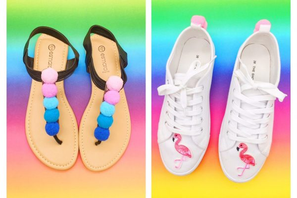 Upcycling Ideen Schuhe mit Flamingo Patches und Pompoms selber machen