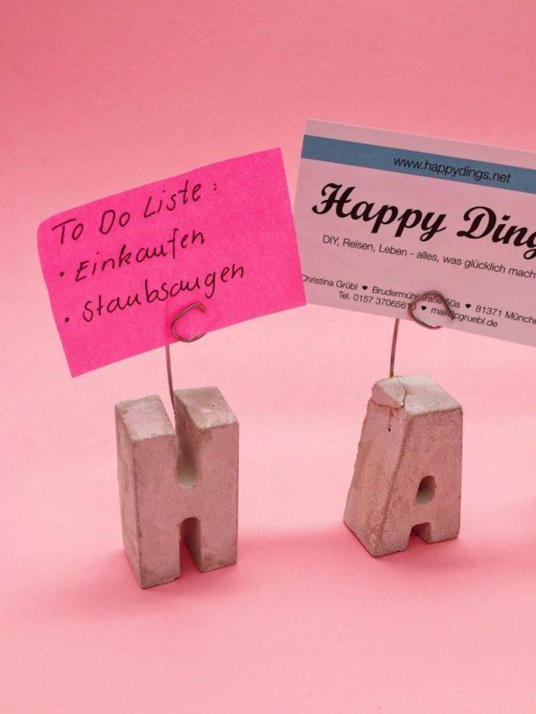 DIY Deko Ideen selber machen Notizhalter aus Beton