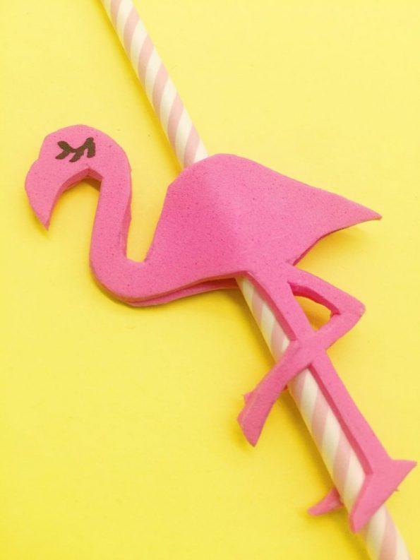 DIY Ideen: Flamingo Strohhalm mit Moosgummi selber basteln