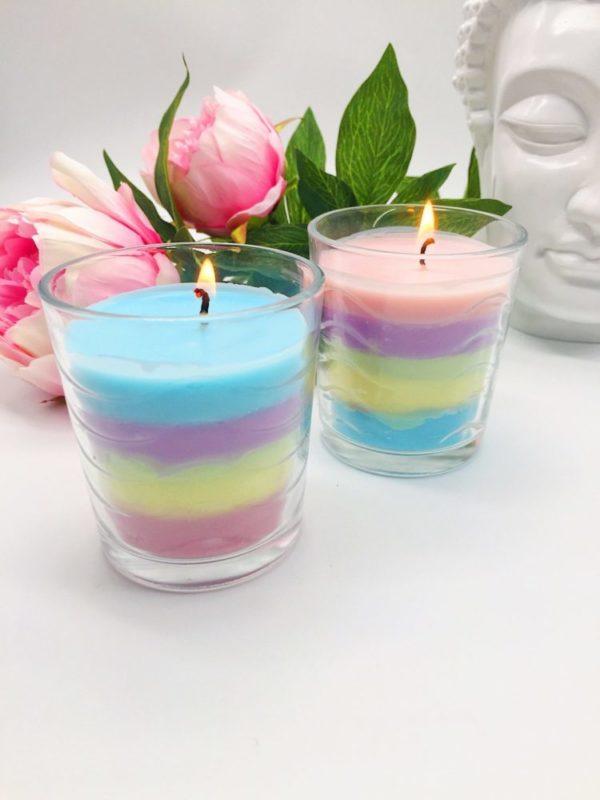 Regenbogen Kerzen selber gießen Flamme