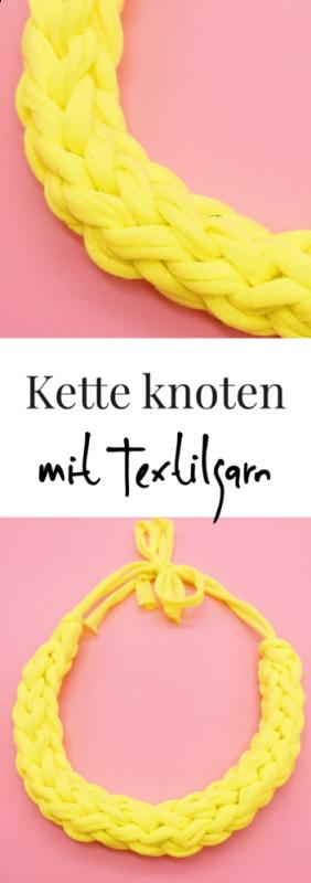 Statement Ketten selber knüpfen und knoten mit Textilgarn gelb