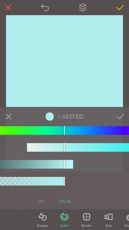 Einfache Weihnachtskarten gestalten mit Over Handy App: Farbe auswählen
