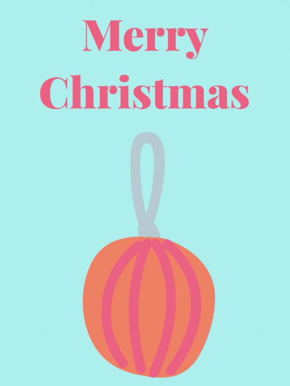 Schöne Motive für Weihnachtskarten selber basteln: Christbaumkugel