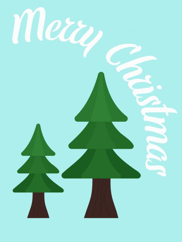 Schöne Motive für Weihnachtskarten selber basteln: Tannenbäume