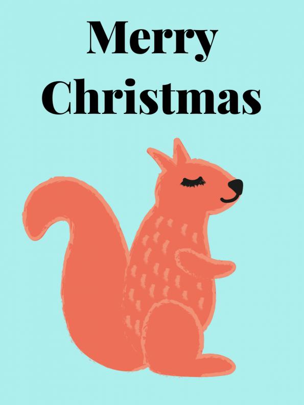 Schöne Motive für Weihnachtskarten selber machen: Eichhörnchen