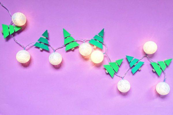 Lichterkette selber machen mit Moosgummi und Wäscheklammern