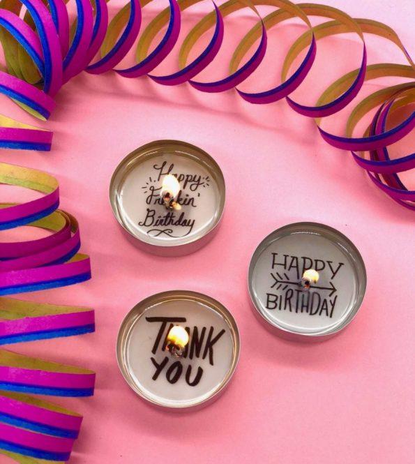 Teelichter mit Botschaften als DIY Geschenke für den Geburtstag