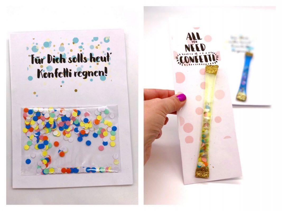 DIY Geburtstagskarten kostenlos ausdrucken und selbst gestalten mit Konfetti