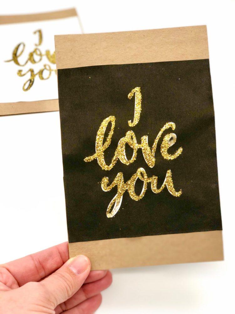 Süße Karten Zum Valentinstag Selbst Gestalten Süße Karten Zum Valentinstag  Selbst Gestalten Mit Goldenem Glitzer Pulver