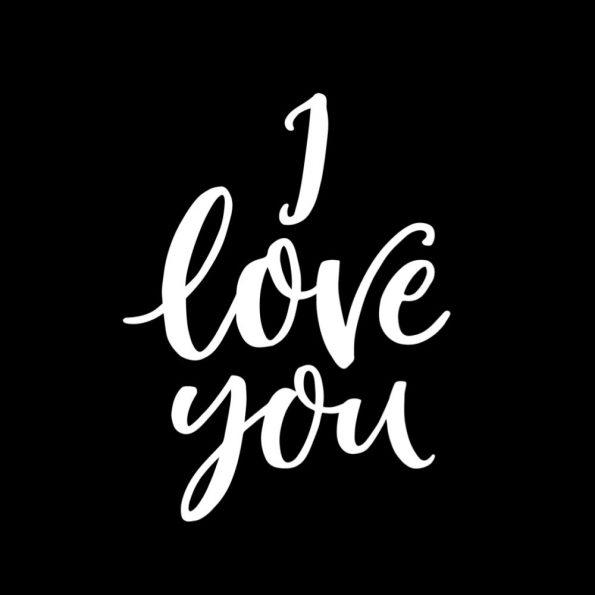 """Vorlage für eine Valentinstag Karte: Motiv """"I Love You"""" schwarz"""