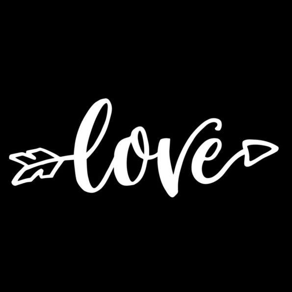"""Vorlage für eine Valentinstag Karte: Motiv """"Love"""" schwarz"""
