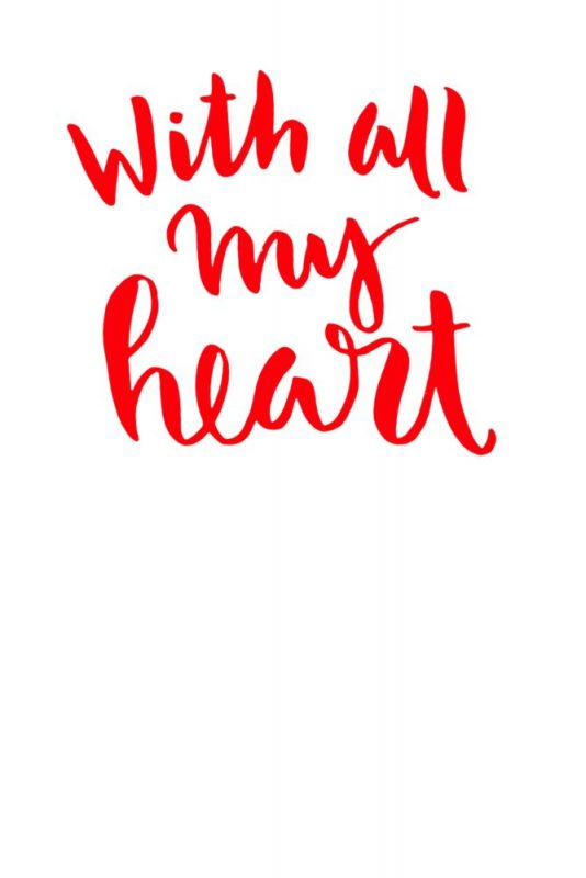 Vorlage für Valentinstag Karte Motiv With all my Heart