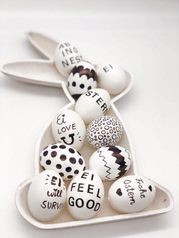 Osterdeko selber machen - Eier bemalen in schwarz weiß