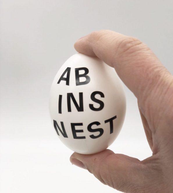 Ostereier bemalen in schwarz weiß schnelle DIY Ideen Motiv: Ab ins Nest