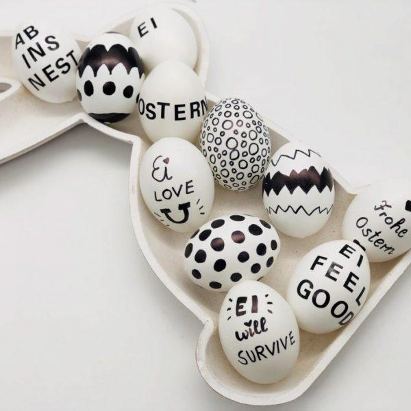 Schöne DIY Ideen für das basteln zu Ostern: Eier im scharz weiß Stil bemalen