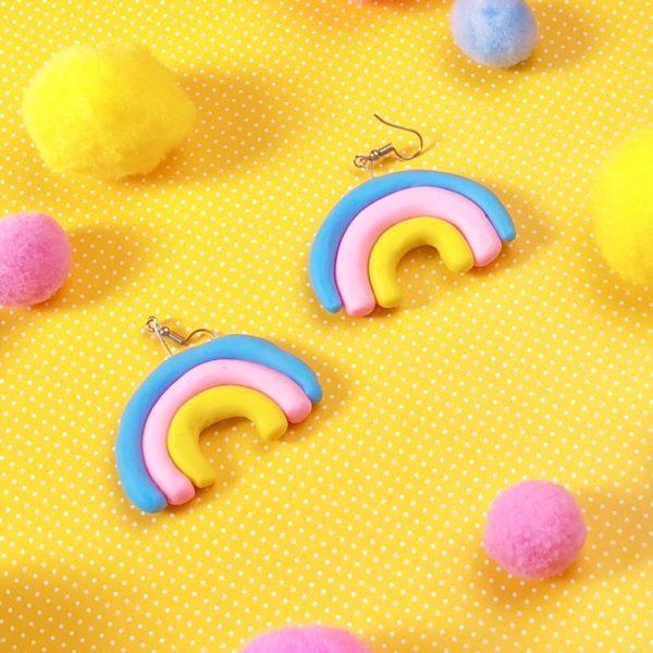Einfache Fimo Ideen - bunte Regenbogen Ohrringe selber machen