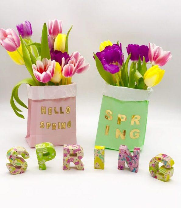 Frühlingsdeko selber machen mit Deko Buchstaben aus Pappe