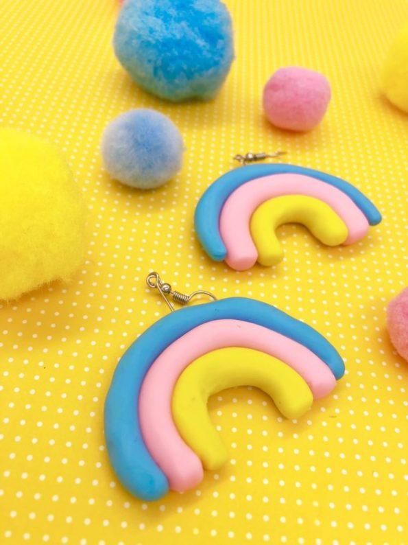 Fimo Ideen - Regenbogen Ohrringe selber machen