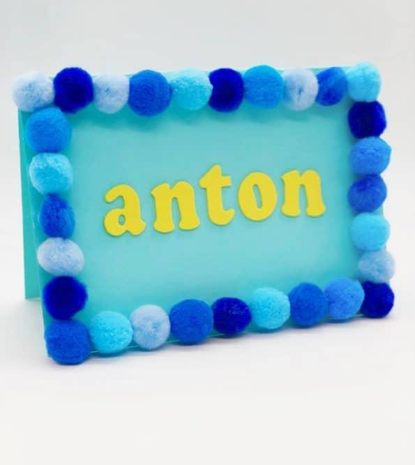 Karten selber machen Basteln mit Pompoms Motiv Anton