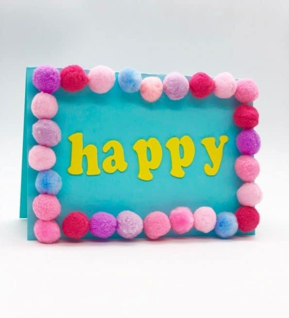 Karten selber machen Basteln mit Pompoms Motiv Happy