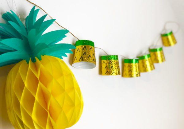 Ananas Girlande selber machen aus Pappbechern