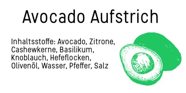 Etikett zum Ausdrucken für den Avocado Aufstrich mit Dr. Karg´s