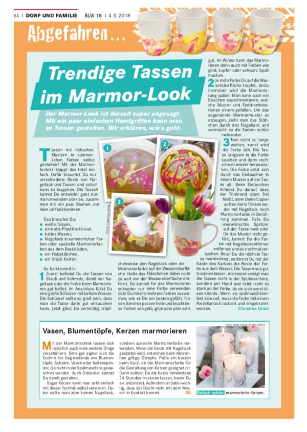 Screenshot Tassen marmorieren - erschienen im Bayerischen Landwirtschaftlichen Wochenblatt, www.wochenblatt-dlv.de