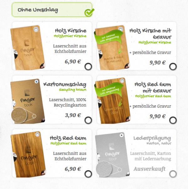 Fotogeschenke selber machen mit fingerbook Umschlag auswählen