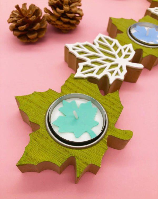 Herbstdeko selber machen - Teelichter mit Ahornblatt