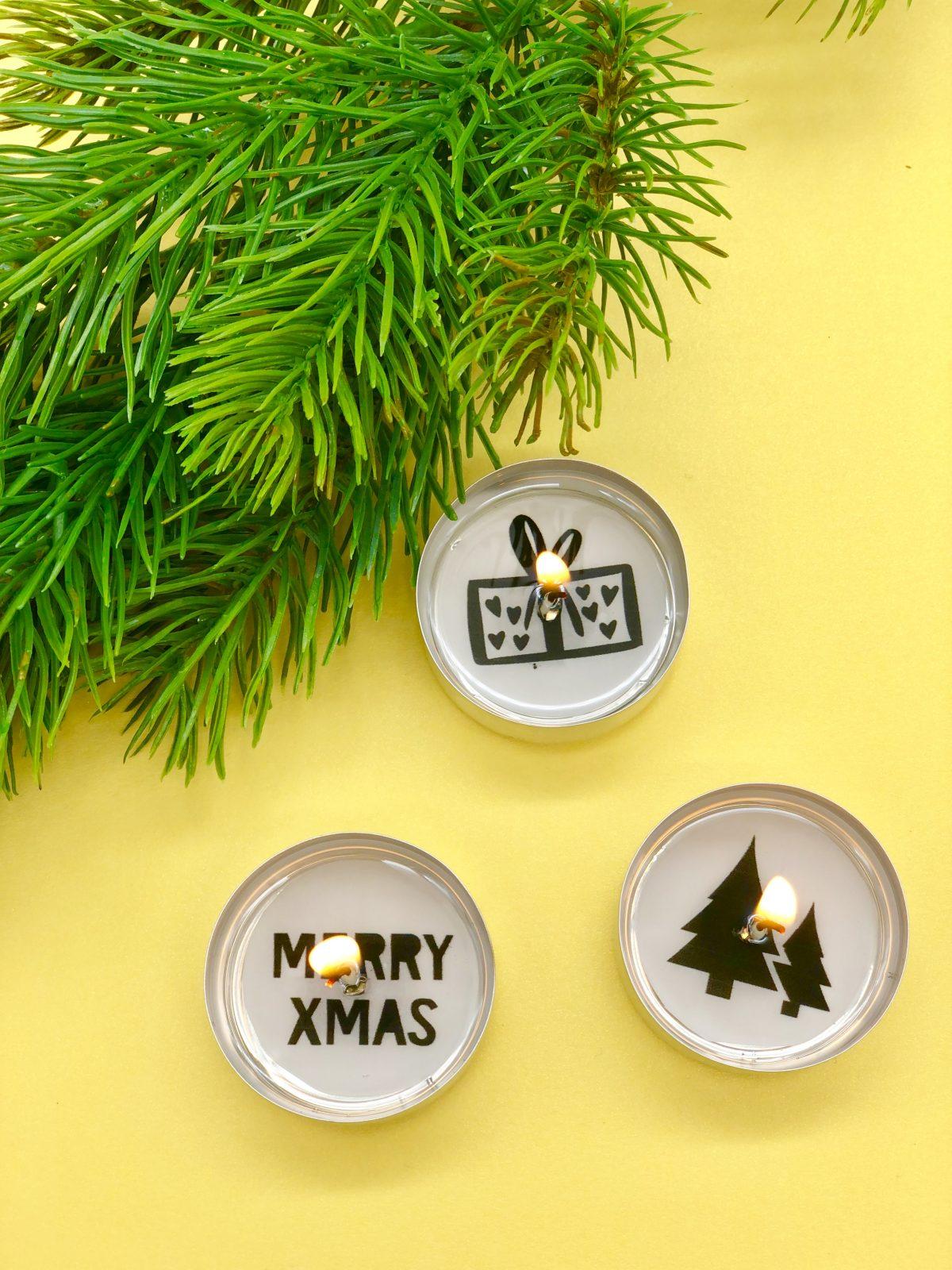 weihnachtsdeko selber machen teelichter mit botschaft. Black Bedroom Furniture Sets. Home Design Ideas