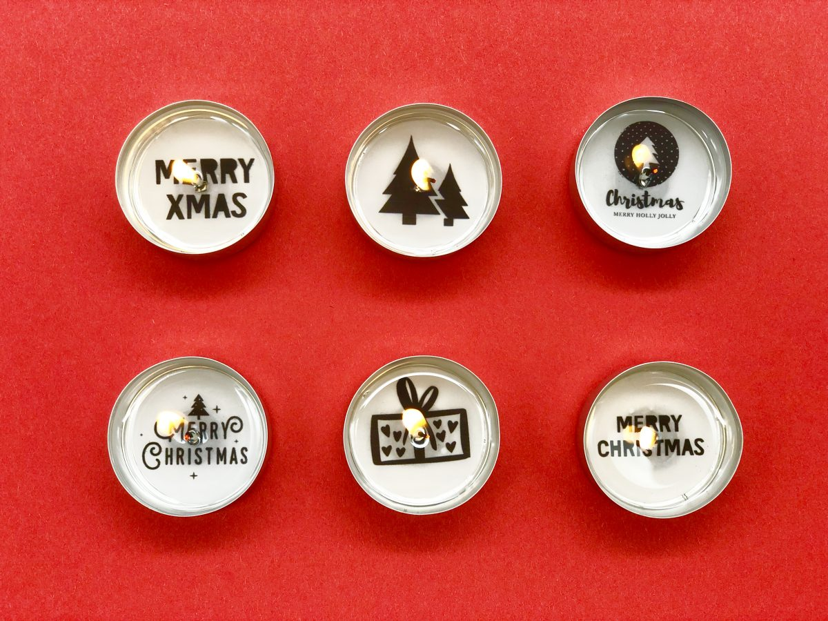 DIY Weihnachtsdeko selber machen - Teelichter mit weihnachtlichen Botschaften