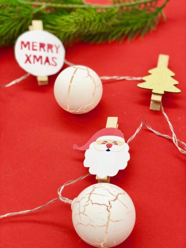 Lichterkette basteln mit weihnachtlichen Motiven