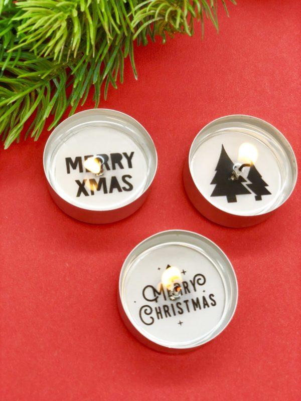 Weihnachtliche Deko selber basteln - Teelichter mit Botschaft