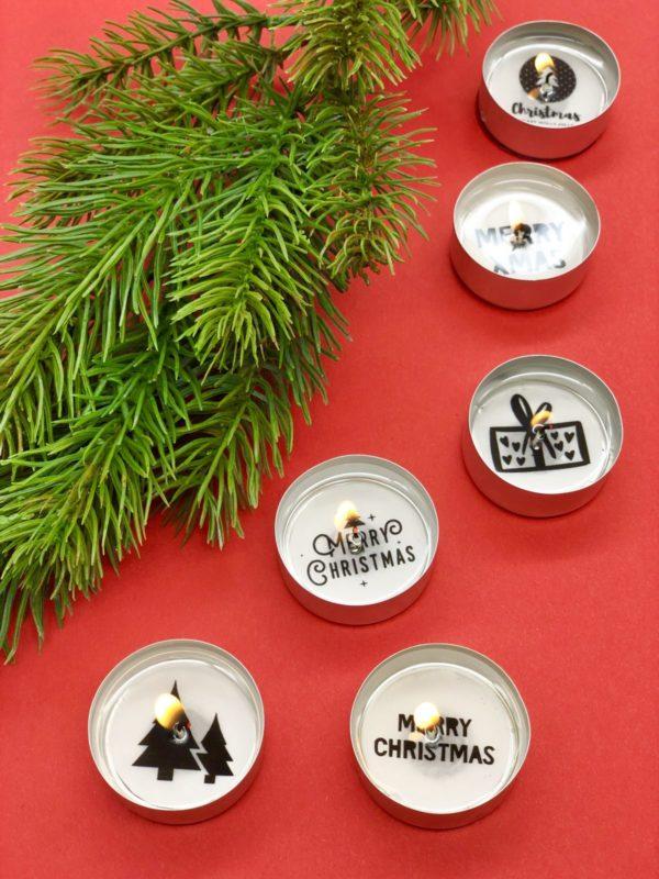 Weihnachtsdeko selber machen - süße Teelichter mit Botschaft