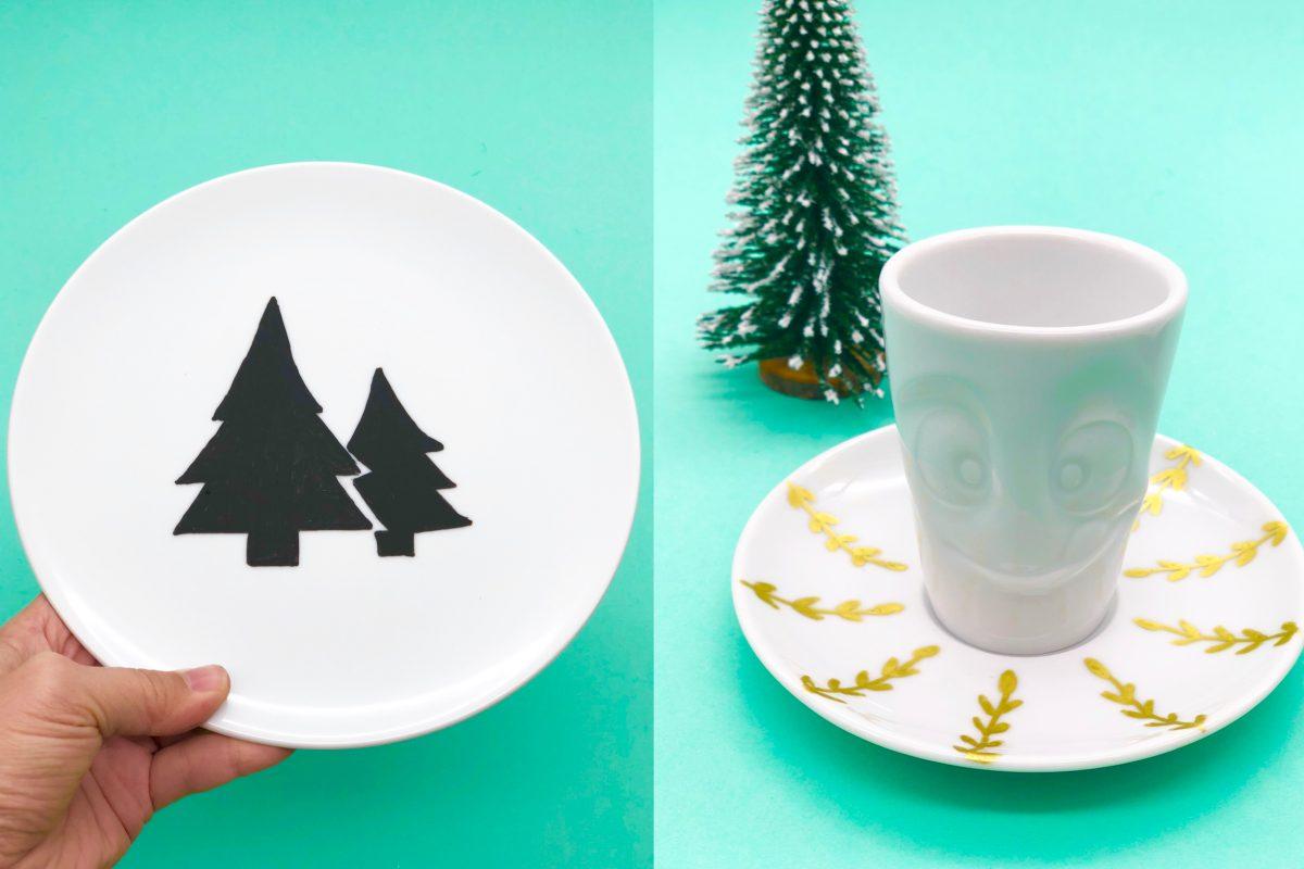 Weihnachtsgeschenke selber machen - Porzellan bemalen mit einfachen und kreativen Mustern