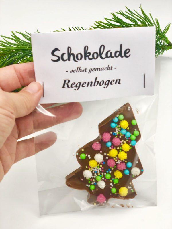 Schokolade schmelzen und verzieren mit schönem Etikett zum Ausdrucken
