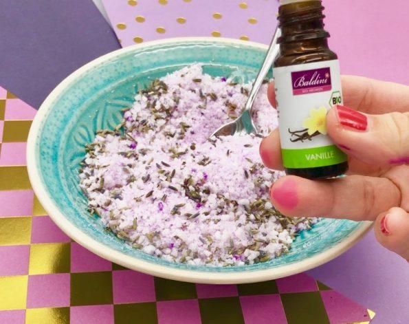 Badesalz selber machen mit Lavendel und Vanille
