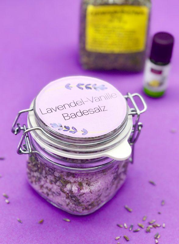 Badesalz selber machen mit Lavendel und Vanille Duft
