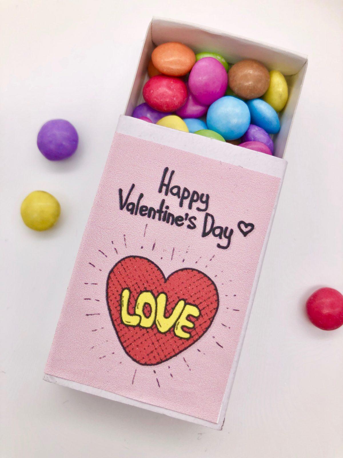 Blanko Streichholzschachteln bedrucken - einfache DIY Idee zum Valentinstag