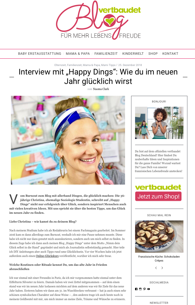Interview Happy Dings auf dem Blog Vertbaudet