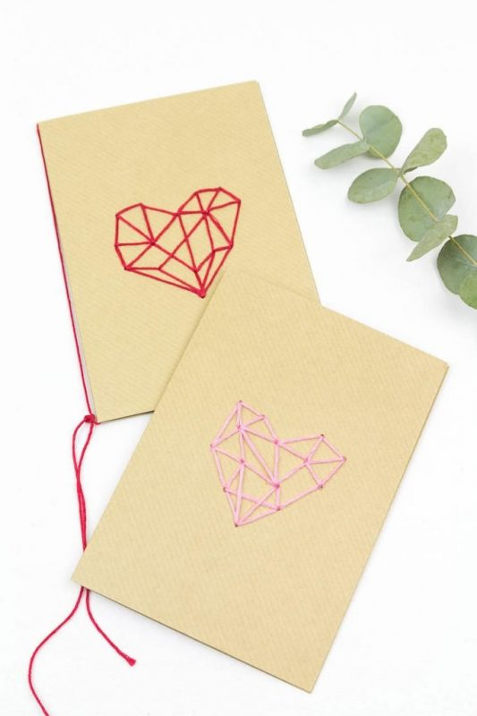 Karten mit süßen Herzen - schöne DIY Idee zum Valentinstag