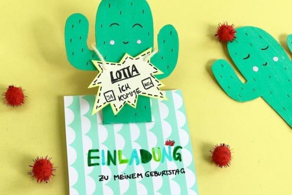 Einladungskarte für den Kindergeburtstag mit Kaktus Motiv