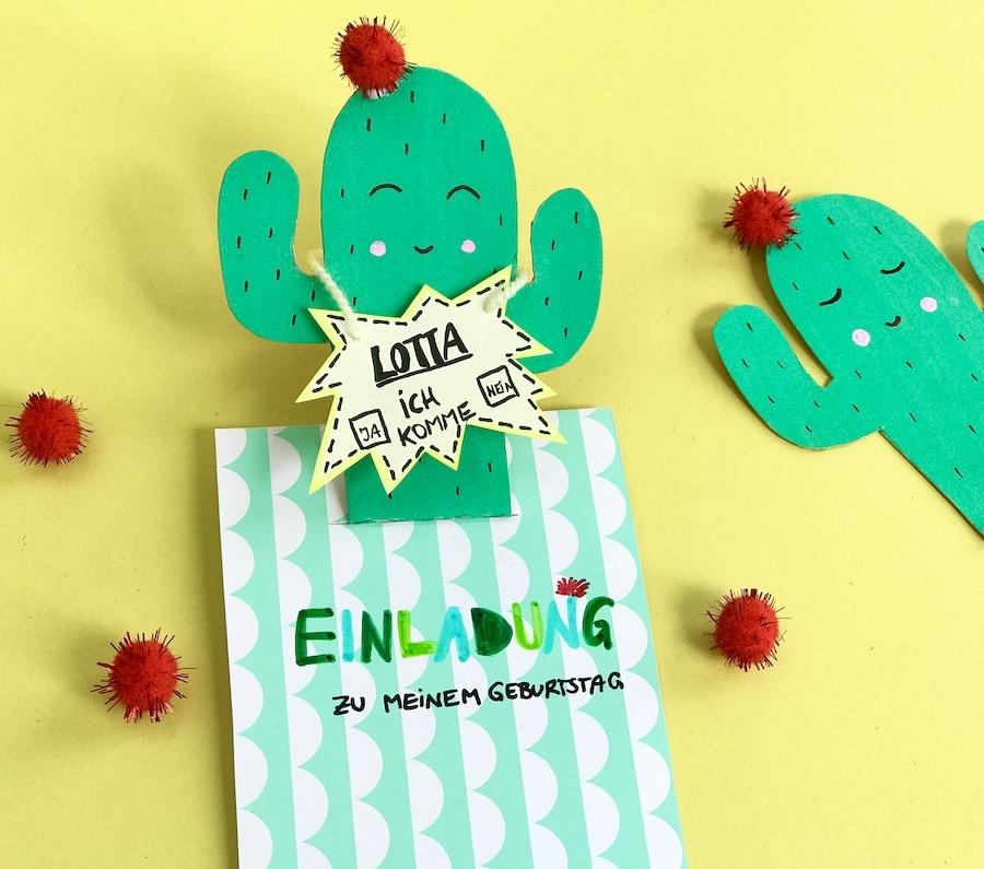 Einladungskarten Für Den Kindergeburtstag Pop Up Kaktus Karte Basteln