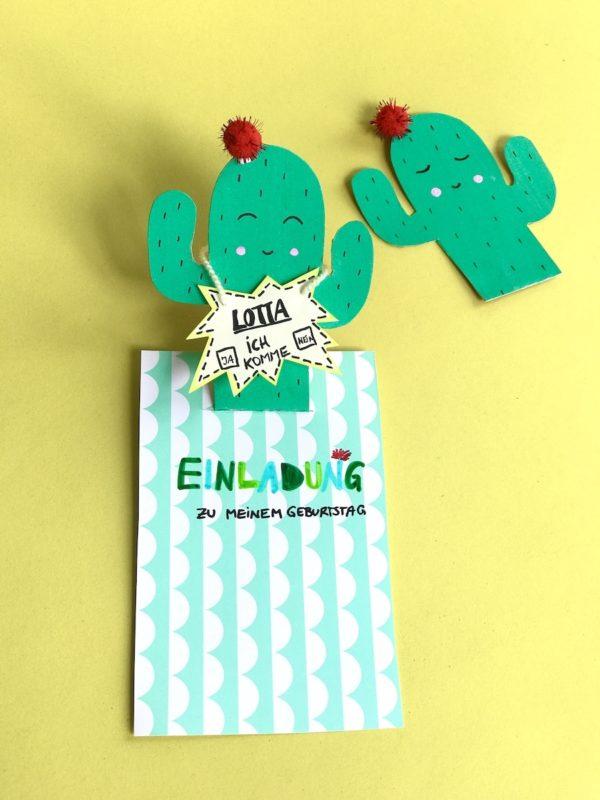 Kaktus Einladungskarte selber machen - süße Idee für den Kindergeburtstag