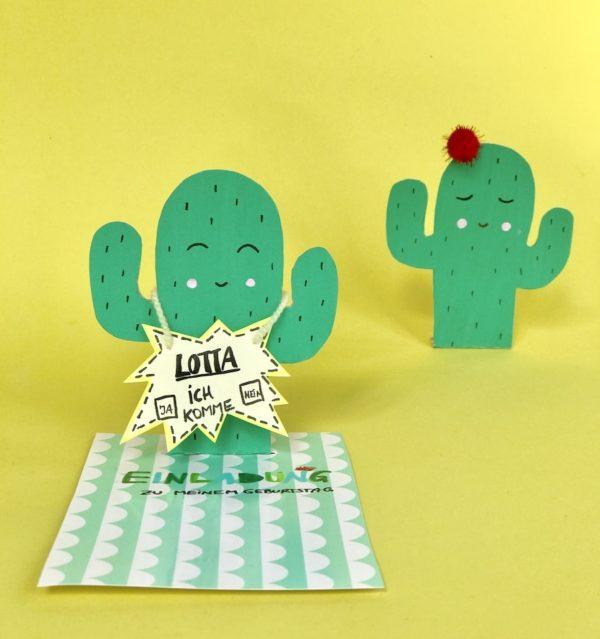 Kaktus Motiv für DIY Einladungskarten zum Kindergeburtstag